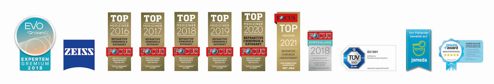 Siegel von Top Mediziner Focus und Tüv